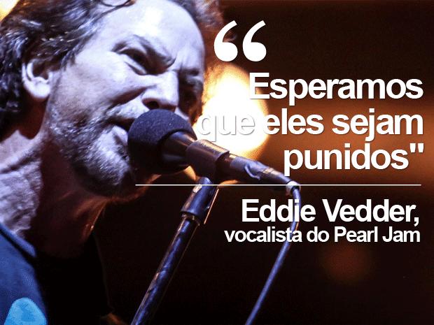 Vocalista Eddie Vedder faz discurso durante show em Minas Gerais  (Foto: Fabio Tito/G1)