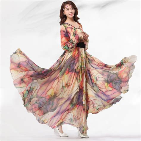Summer Chiffon Floral Long Sleeve Beach Maxi Dress