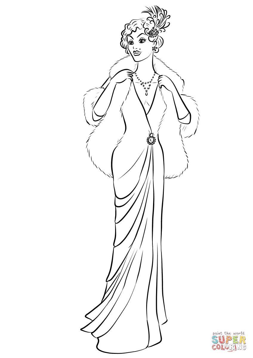 Dibujo de Mujer de 1930 en vestido largo y abrigo de piel ...