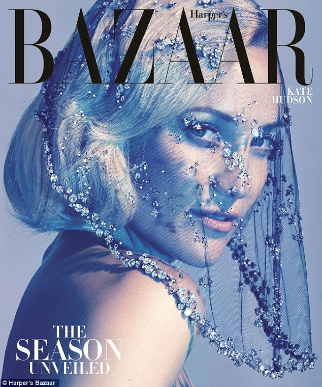 Unveiled: Kate appears on the cover of the October edition of the magazine wearing a bejwelled veil