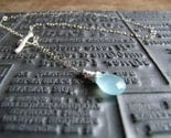Waterfall necklace - Aqua chalcedony and freshwater Biwa pearl, sterling silver bubble chain