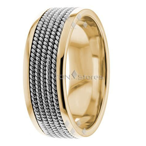 TWISTED ROPE HAND BRAIDED TWO TONE WEDDING BAND MENS