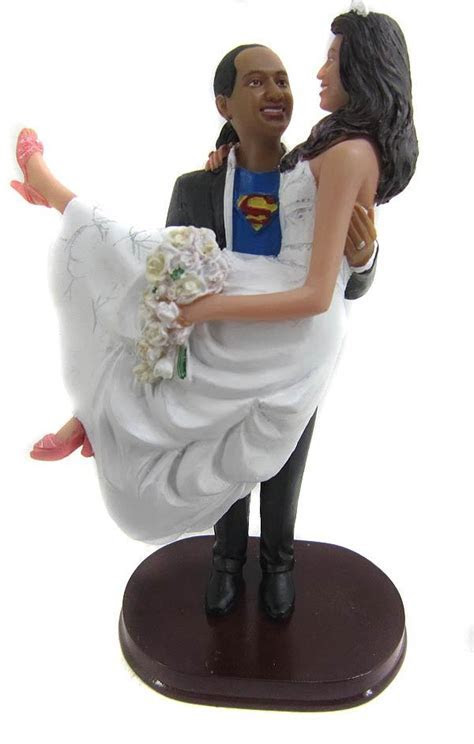 Superman Carrying the Bride Cake Topper