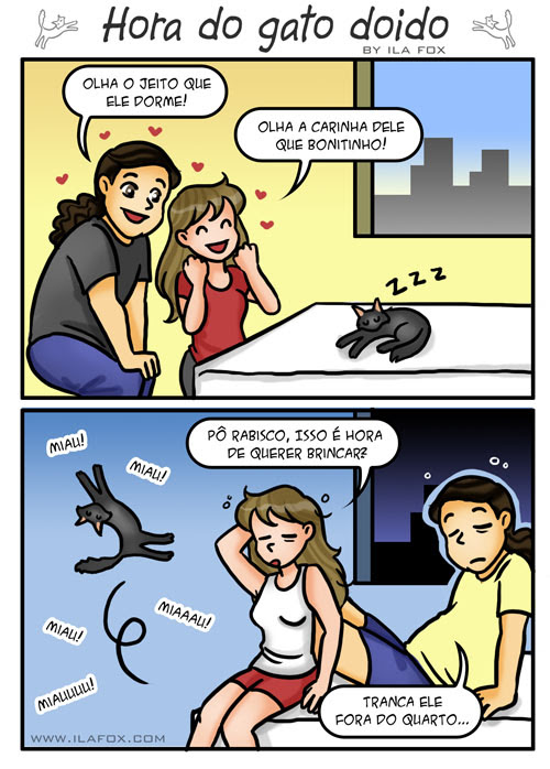 Hora do gato doido, gato louco, gato brincando a noite, quadrinhos by ila fox
