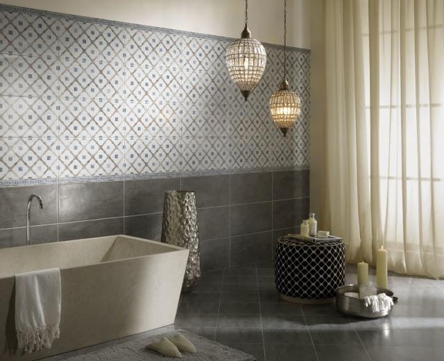 Geometrische Badezimmer Fliesen Muster f r urbanes Flair
