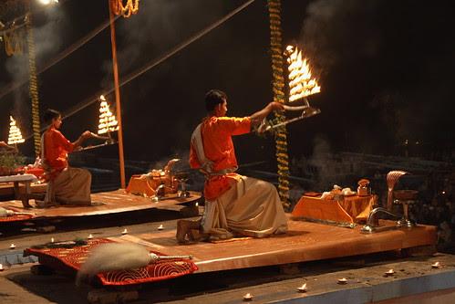 Praying by the Ganga river ...