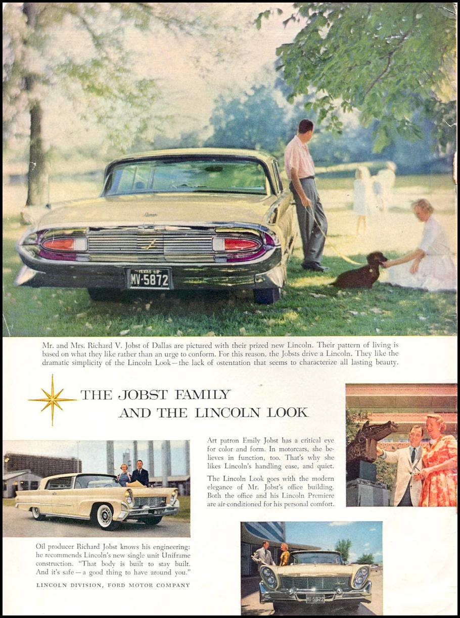 LINCOLN AUTOMOBILES TIME 09/15/1958 INSIDE FRONT