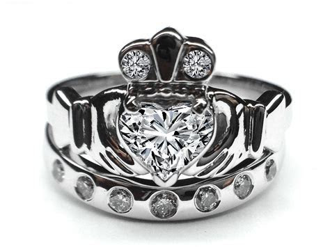 Engagement Ring  Heart Diamond Claddagh Engagement Ring