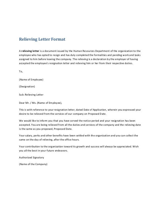 Relieving Letter FormatA relieving letter is a document issued by the ...