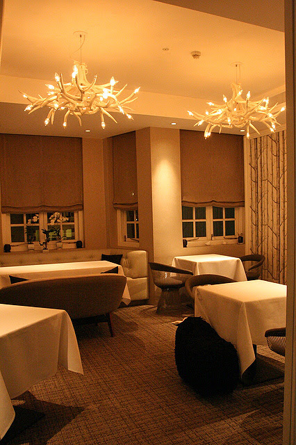 The second floor has more intimate dining settings