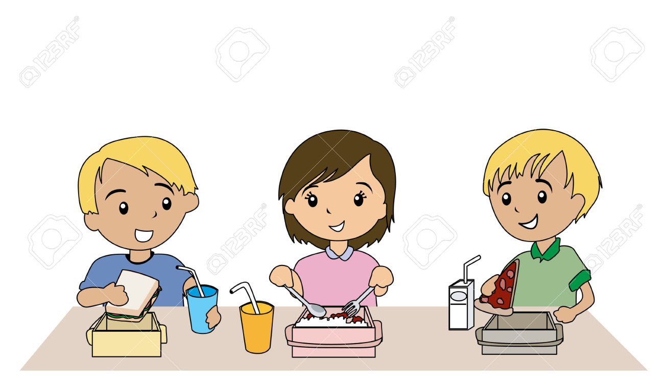 Healthy Boy And Girl Eating Healthy Food Clipart
