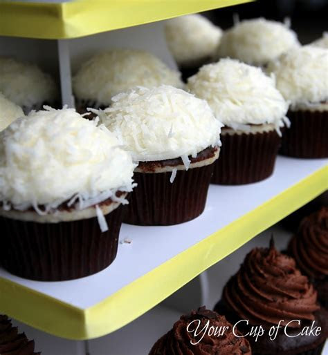 Coconut Cupcakes with Chocolate Ganache   Your Cup of Cake
