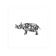 Modern Abstract Scribble Rhino Wall Art Prints by Noelle