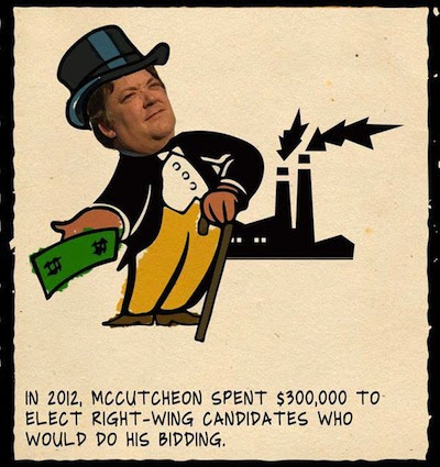In 2012, McCutcheon spent $300,000 to elect right-wing candidates who would do his bidding.