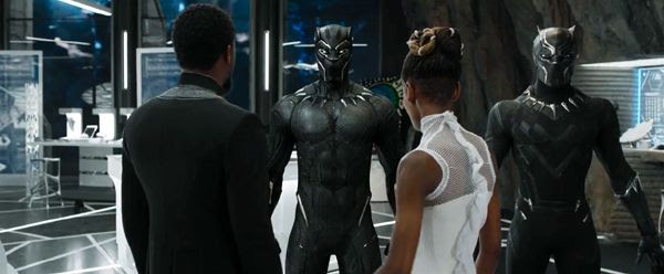 Two armored suits worn by T'Challa in BLACK PANTHER.