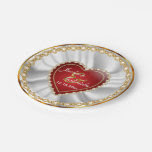 Gold, Red & Faux Diamond Wedding or Anniversary 7 Inch Paper Plate