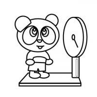 体重測定するパンダ身体測定塗り絵バージョン無料こどもイラスト