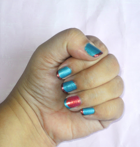 turquoise and orange nails