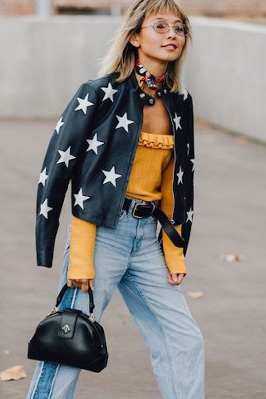 Le Fashion Blog Round Frame Sunglasses Star Print Leather Jacket Necktie Mustard Top Vintage Jeans Via Vogue