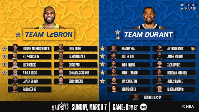 Kapiteins Kevin Durant en LeBron James kiezen ploegmaats voor All-Star Game