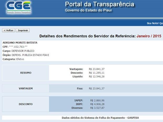 Contracheque do defensor Adriano Moreti (Foto: Reprodução/folha.transparencia.pi.gov.br/)
