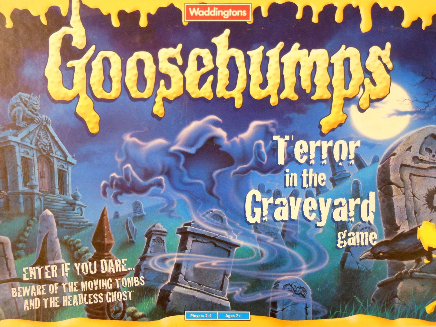 Goosebumps Terror in the Graveyard board game board game box art, showing the headless ghost preparing to strike.