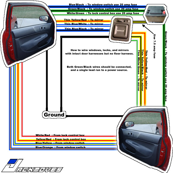 EK Power door wiring question. - Honda-Tech
