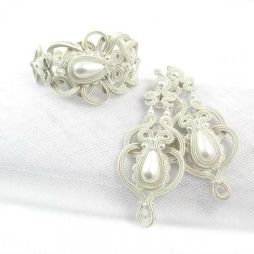 Komplet ślubny sutasz ivory, perły