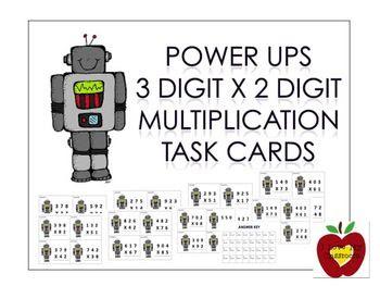 Power Ups 3 Digit x 2 Digit Multiplication Task Cards (Robot)
