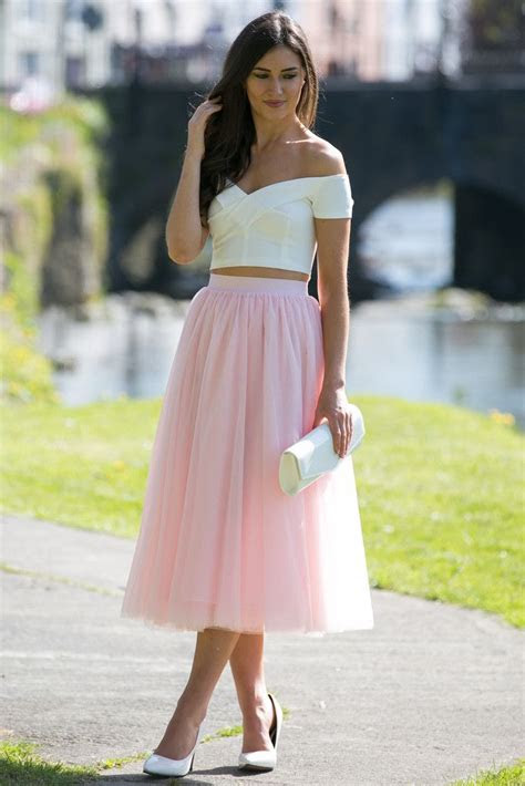 tulle midi baby pink skirt white   shoulder crop