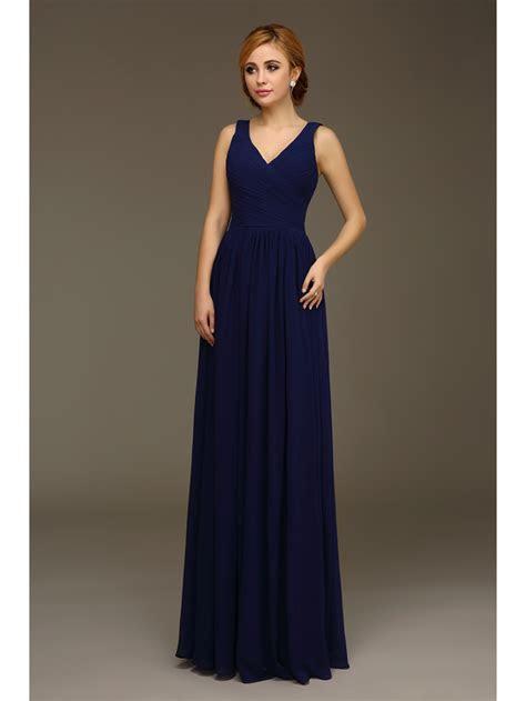 Long Navy Blue A line Formal Wedding Bridesmaid Dresses