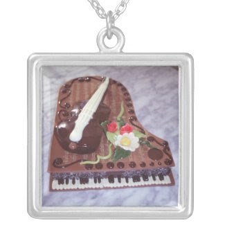 Chocolate grand piano necklace