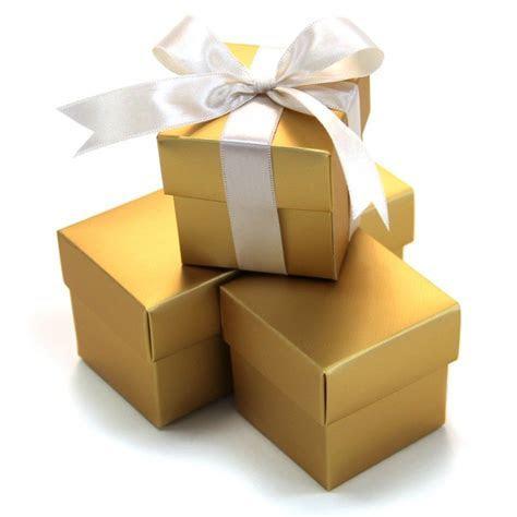2 PC Favor Boxes 2x2x2   Gold [403513 2 Piece Favor Boxes