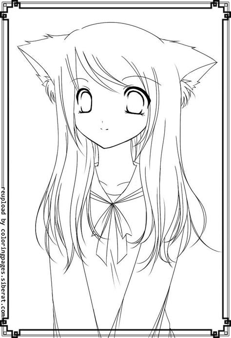 cute anime coloring pages cat girl brucemama