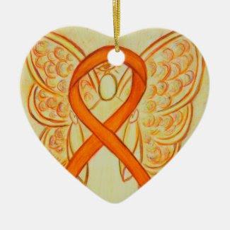 Orange Awareness Ribbon Angel Custom Art Ornaments