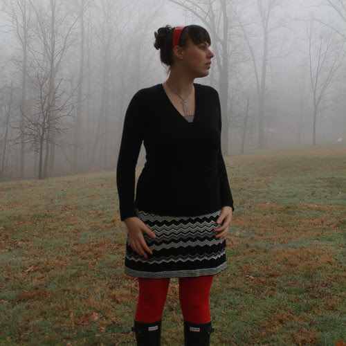 Fog outfit: Missoni for Target black and white chevron dress, red tights, Hunter wellies