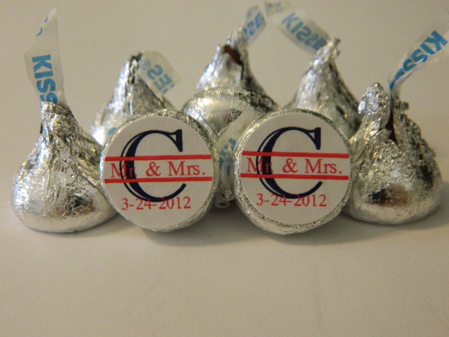 WEDDING INITIAL KISSES - Hershey Kisses - 108 self-advesive stickers - Labels Only - Personalized favors wedding favors