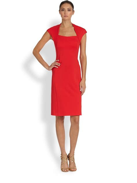 escada square neck donde dress  red lyst