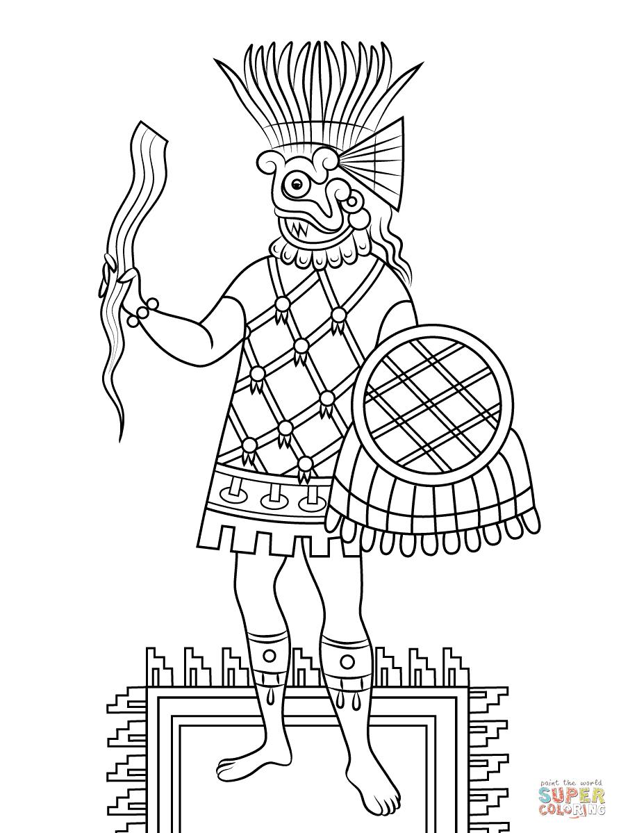 Dibujo De Mascara Del Dios Azteca Xipetotec Para Colorear Dibujos