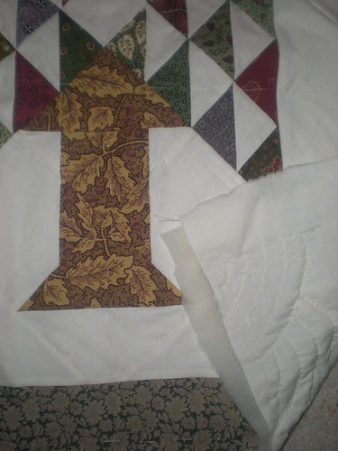 Start of the baptist fan quilting on Tree Quilt