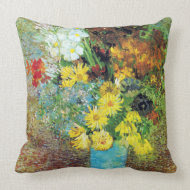 Vase with Daisies and Anemones by Van Gogh throwpillow