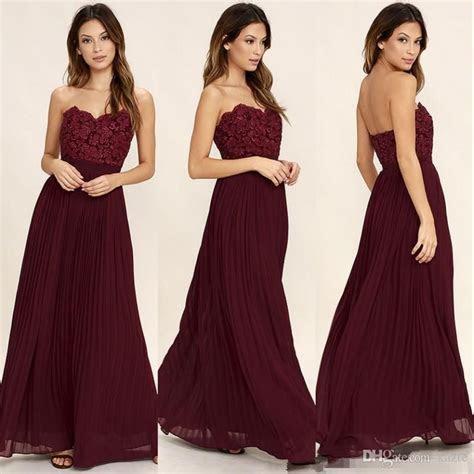Sweetheart Lace Chiffon Burgundy Long Bridesmaid Dresses