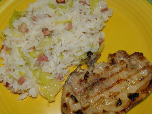 Arroz com bacon e couves