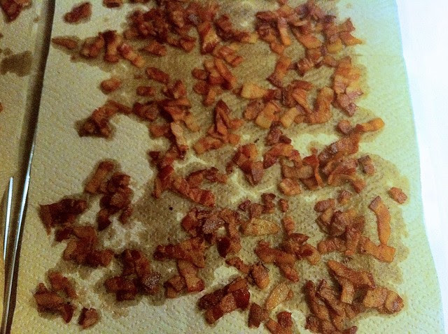 Crispy Bacon Pieces Draining