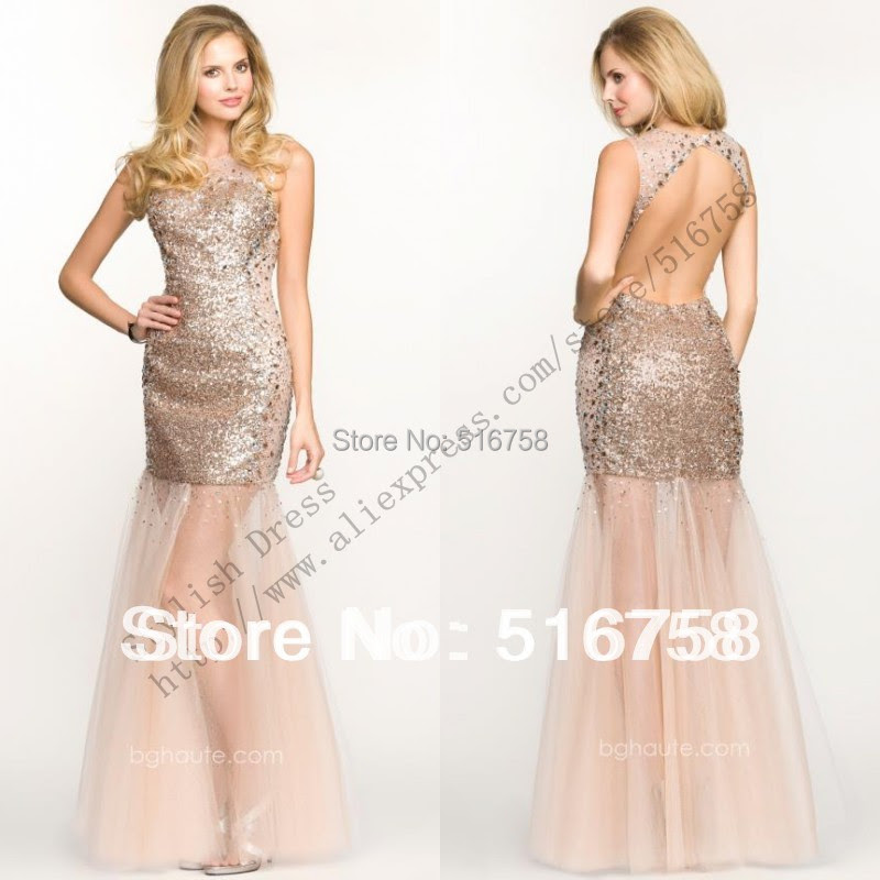 High Neck Open Back Sexy Sheer Bottom Sequin Beaded Sexy Party Cocktail Dresses Champagne Mermaid Prom