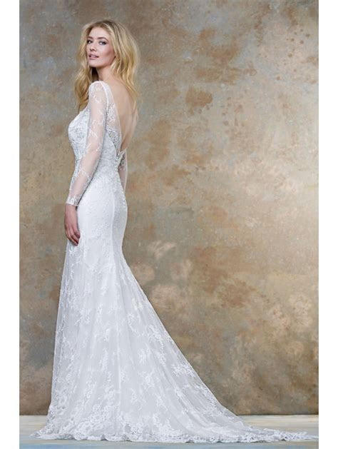Ellis Bridals 18019 Soft Lace Bridal Gown With Sleeves Ivory