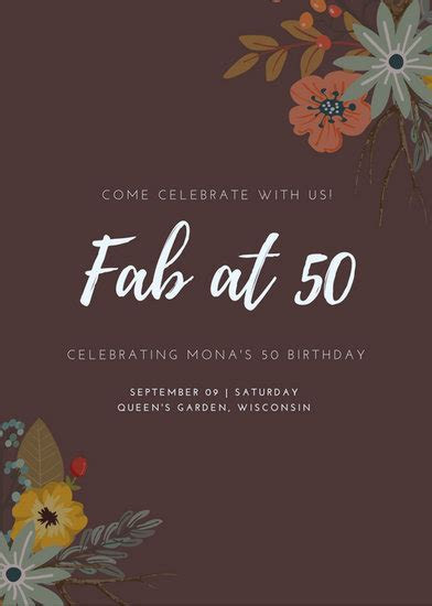 Maroon Floral 50th Birthday Invitation   Templates by Canva