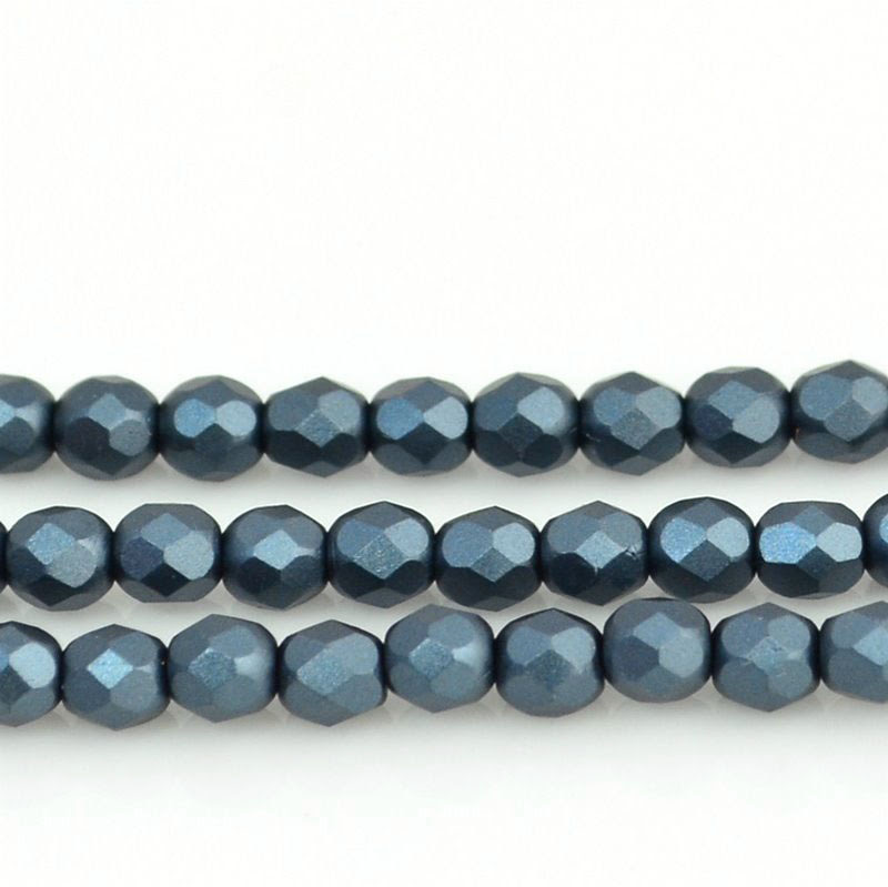 27099000-19 Firepolish - 4 mm Faceted Round - Pearl Pastel Anthracite (strand 45)