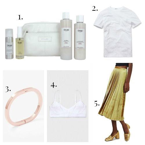 Ouai Haircare - Buck Mason Tee Shirt - COS Bracelet - Base Range Bra - Topshop Skirt