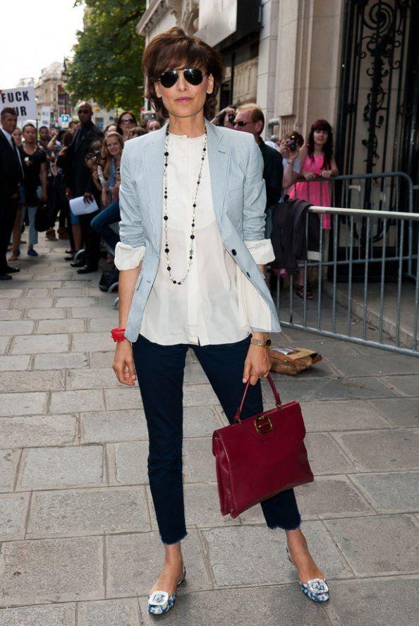 pastel blue blazer + loafers   Ines de la Fressange